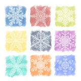 Snowflake Pastels Set Royalty Free Stock Image