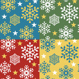Snowflake Pattern_4 Colorways. A seamless vector snowflake pattern in four holiday color combinations Stock Image