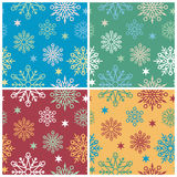 Snowflake Pattern. A seamless snowflake pattern in four holiday colorways. Repeat size is 6 Stock Photos