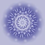 Snowflake Pattern on Blue Background Royalty Free Stock Photo
