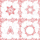 Snowflake pattern seamless red and white colors Stock Image