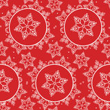 Snowflake pattern seamless red and white colors Stock Photos