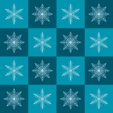 Snowflake pattern. Seamless vector checkered winter background Stock Photography