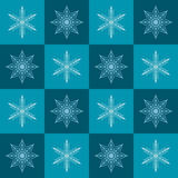 Snowflake pattern. Seamless vector checkered winter background Royalty Free Stock Photography