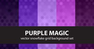 Snowflake pattern set Purple Magic. Vector seamless backgrounds Royalty Free Stock Image