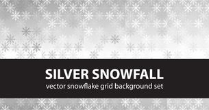 Snowflake pattern set Silver Snowfall. Vector seamless backgroun Royalty Free Stock Image