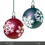 Snowflake Patterned Christmas Baubles Stock Image