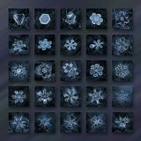 Snowflake photo collage in dark blue colors with 25 snow crystals Royalty Free Stock Image
