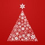 Snowflake pine tree. christmas flat vector Stock Photo