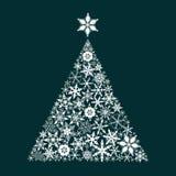 Snowflake pine tree. christmas flat vector. Christmas, snowflake, pine, tree, snow, merry christmas, happy, new, year, invitation, card, postcard, winter Royalty Free Stock Photos