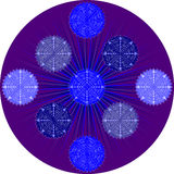 Snowflake on purple background2 Stock Photography