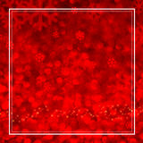 Snowflake red bokeh light with white frame in square composition Royalty Free Stock Photo