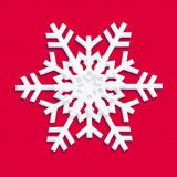 SNOWFLAKE 2019 craft paper christmas red decoration. Snowflake icon color RED. Kids illustration. 2019. Happy New Year! Christmas symbol. White snowflake on red royalty free illustration