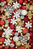 Snowflake and Christmas Bauble Decorations Royalty Free Stock Images