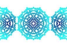 snowflake Reticolo senza giunte di natale Ornamento circolare Pizzo decorativo Illustrazione di vettore illustrazione di stock