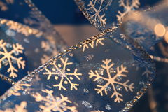 Snowflake Ribbon Closeup Stock Photos