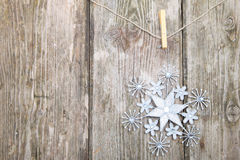 Snowflake on a rope Royalty Free Stock Photo