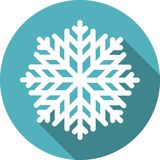Snowflake round icon with long shadow Stock Photo