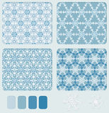 Snowflake's geometric seamless pattern set Royalty Free Stock Images