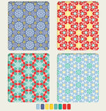Snowflake's geometric seamless pattern set Stock Photography