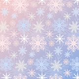 Snowflake seamless pattern gradient Rose Quartz and Serenity colored vintage background. Can be used for New Year and Christmas concepts. Snowfall elements Stock Photos