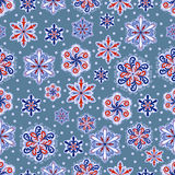 Snowflake seamless pattern. Holiday wallpaper. Winter endless background. Set of snowflakes. Royalty Free Stock Image