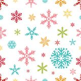 Snowflake seamless pattern Merry Christmas and Happy New Year winter holiday background decorative paper vector. Illustration. Festive textile xmas abstract Royalty Free Stock Photo