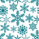 Snowflake seamless pattern Merry Christmas and Happy New Year winter holiday background decorative paper vector. Illustration. Festive textile xmas abstract Stock Images