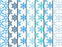 Snowflake seamless pattern Merry Christmas and Happy New Year winter holiday background decorative paper vector. Illustration. Festive textile xmas abstract Stock Photos