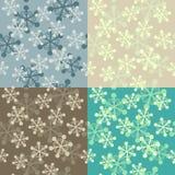 Snowflake seamless pattern set Stock Images