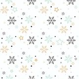 Snowflake seamless pattern. Snow on blue background. Abstract wallpaper, wrapping decoration. Symbol winter, Merry Christmas holid stock illustration