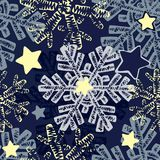 Snowflake seamless winter hand drawn  pattern. Royalty Free Stock Images