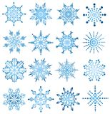 Snowflake set. Set of blue different snowflakes Stock Images