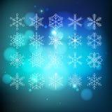 Snowflake set. Big snowflake set on blue abctract background Stock Photos