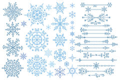 Snowflake set.Border set.Winter doodles decor Royalty Free Stock Photos