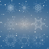 Snowflake Set. Christmas and new year concept Royalty Free Stock Photography