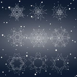 Snowflake Set. Christmas and new year concept Stock Photography