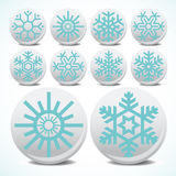 Snowflake set icons Royalty Free Stock Photo