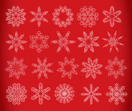 Snowflake set on red Royalty Free Stock Images