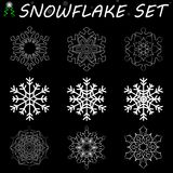 Snowflake set. Snowflake set on transparent or isolated black background royalty free illustration