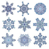 Snowflake set. In watercolor style 9 pieces Stock Image