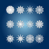 Snowflake set for winter design. On white blue background Royalty Free Stock Images