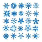 Snowflake Set Winter Elements. 25 Snowflakes Set and Winter Elements Royalty Free Stock Photography