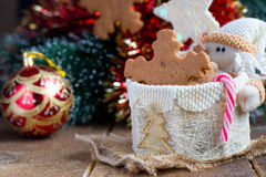 Snowflake shape gingerbread cookie Stock Image