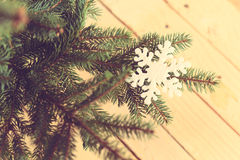 Snowflake shape on pine branch Stock Photos