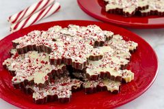 Snowflake shaped chocolate peppermint bark candies stock photography