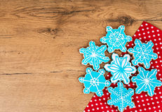Snowflake shaped cookies. Stock Photos