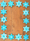 Snowflake shaped cookies. Royalty Free Stock Photos