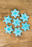 Snowflake shaped cookies. Royalty Free Stock Image