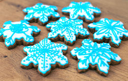 Snowflake shaped cookies. Stock Image